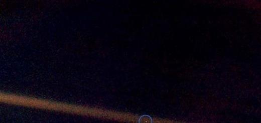 Фотография Земли, сделанная в 1990 году Вояджером с расстояния 6 миллиардов км.