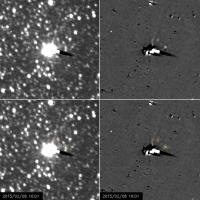 Автоматическая межпланетная станция NASA по изучению Плутона запечатлела маленькие луны карликовой планеты – Никту и Гидру.